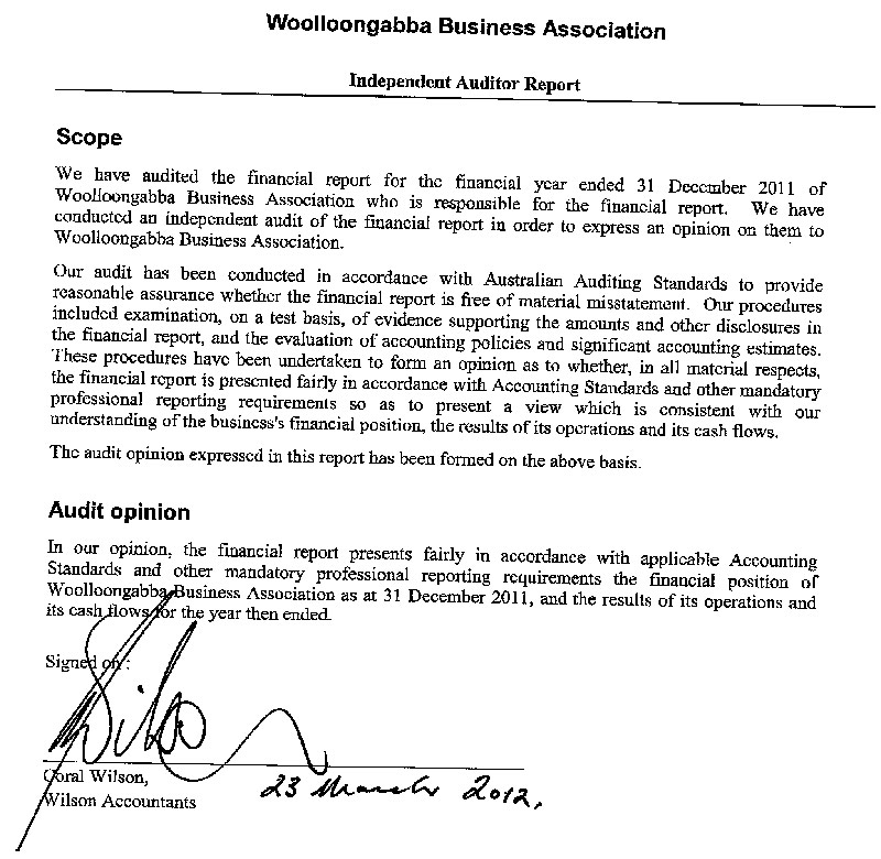 2012 annual general meeting documents gabba business association 2011 audit report and balance sheet altavistaventures Image collections